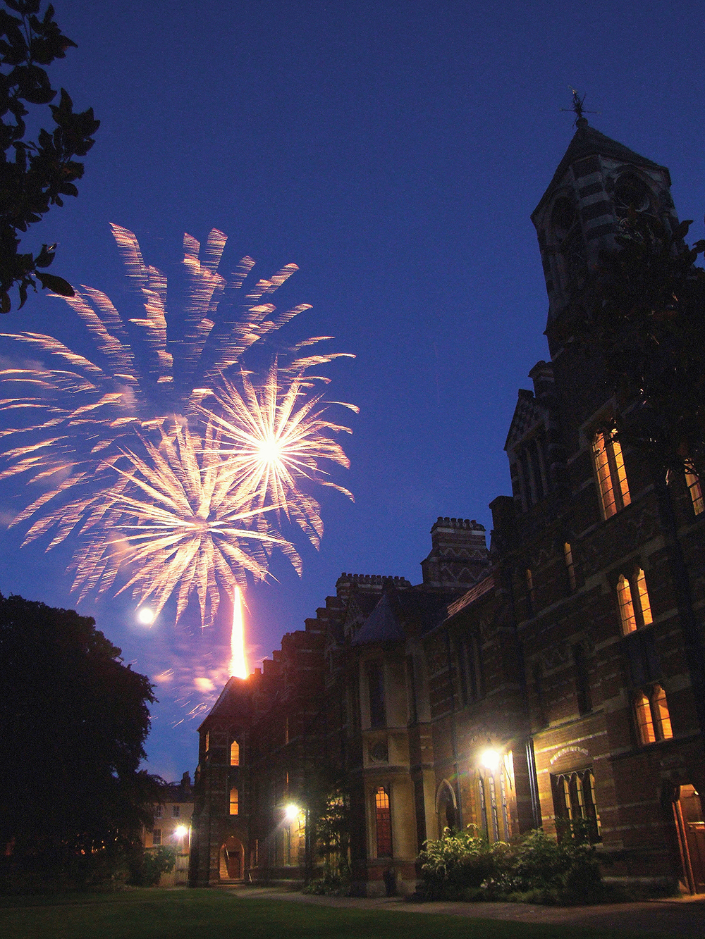 fireworks seen from Pusey Quad